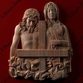 Cuadro de Jesús y Maria Tallado en madera  alto relieve