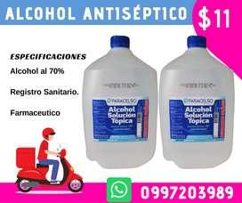 Alcohol Antiséptico x galon con registro sanitario a 11 dólares