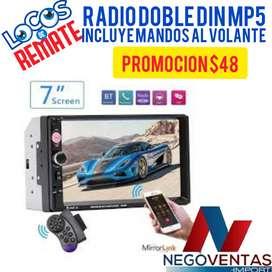 RADIO PARA CARRO DOBLE DIN MP5  USB BLUETOOTH CON ADAPTACION A CAMARA DE RETRO