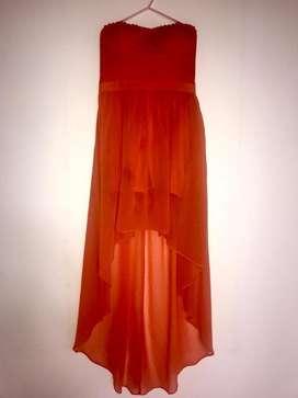 Vestido Estraple Fiesta Naranja