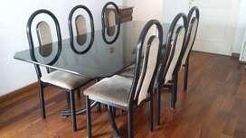 Mesa de vidrio y 6 sillas para living