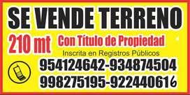 SE VENDE TERRENO CON AREA CONSTRUIDA EN LA CAMPIÑA HUACHO DE 210 MTS2