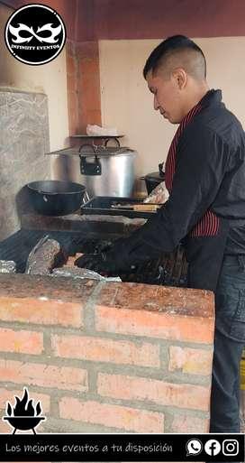 Servicio de parrilladas para asados familiares, sociales parrilleros a domicilio, meseros, platos de comida alquiler