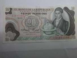 Billete 20 pesos de oro . Colombia 1977. Nuevo