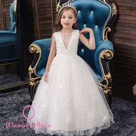 Vestido Blanco Collar Adelante