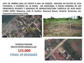 1800 m2 en Tonsupa sector Huertos Familiares (Diamond Beach)