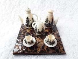 Vajilla en miniatura para té hecha en Tagua De 7 Piezas