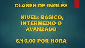CLASES DE INGLES NIVELES: BÁSICO, INTERMEDIO O AVANZADO