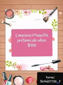 Maquillaje,Limpieza y semi permanentes de uñas