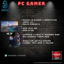 COMPUTADOR GAMER RYZEN 5 3400 SSD 240 MEMORIA 8GB MONITOR 22 PULGADAS