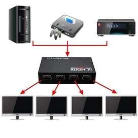 HDMI Splitter 1x4 1.4 Full Hd 4k Multiplica Señal Conecta 4 TV