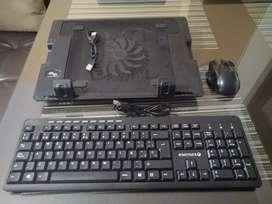 Combo de mouse, teclado y base refrigerante