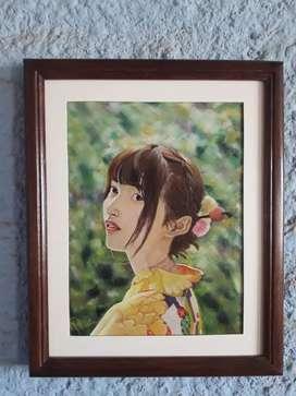 """Cuadro """"Retrato de chica japonesa """""""
