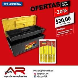 """Caja porta herramientas plástica de 17"""" con bandeja removible y traba metálica TRAMONTINA"""