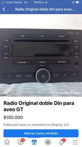 Vendo Radio doble Dinn Original Aveo GT 2 Parlantes