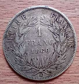 Moneda antigua Francia. 1860