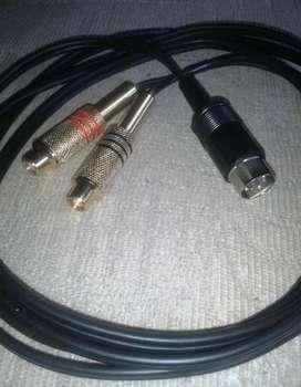 CABLE DIN DE 5 PINES 180º A 2 RCA CON CABLE BLINDADO DE 2 METROS