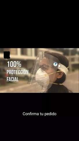 Protectores faciales y bandejas desinfectantes