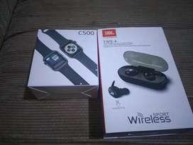 Relojes C 500 Y V8 mas audifonos inalambricos precio por c/u