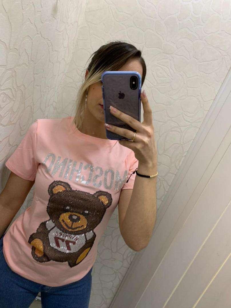 Camisetas femeninas 2805 moschino envio gratis