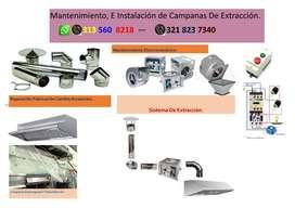Mantenimiento Campanas de Extracción y sistemas de Extracción.