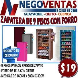 ZAPATERA DE 9 PISOS CON FORRO