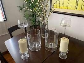 Set de copas y jarrones grandes, porta velas (de vidrio ) y florero (fibra de vidrio)