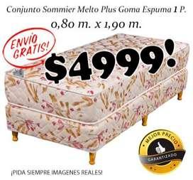 ¡Con ENVÏO GRATIS! Sommier mas Colchon 1 plaza. Completo. Base + Patas + Colchon. Envío gratis dentro de gran Mendoza!