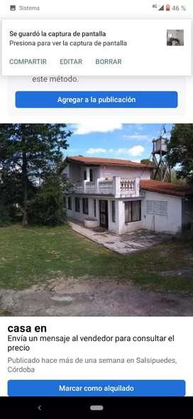 Vendo dos propiedades lote 3500 mt las propiedades se encuentran en huerta grande..