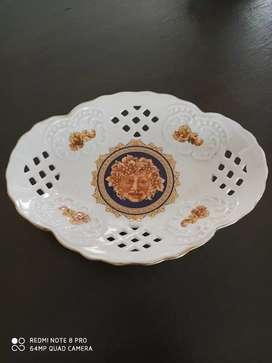 Bandeja pequeña y veladora en porcelana Francesa