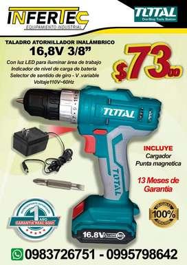 """TALADRO ATORNILLADOR INALÁMBRICO 16,8V 3/8"""" MARCA TOTAL"""
