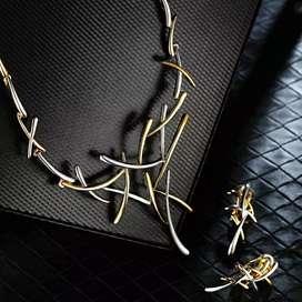 Collar y aretes set de lujo con caja de regalo