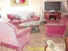 còmodo juego de living sillones de estilo tapizado pana categoria