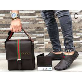 zapatos gucci trio con bolso y billetera