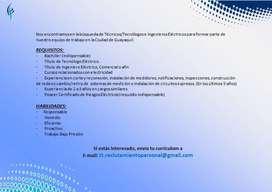 Técnico/Tecnólogo/Ingeniero Eléctrico