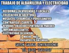 ALBAÑILERIA EN GENERAL , ELECTRICIDAD , HERRERIA Y MAS