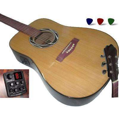 Guitarra Folk Electroacustica Cuerdas Acero Afinador Estuche 0