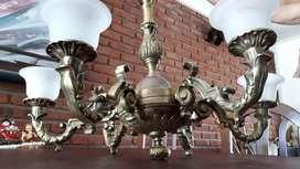 Araña bronce completa cableada, 6 luces lista para usar!