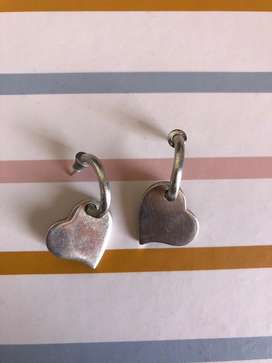 Aretes de corazon en plata 950