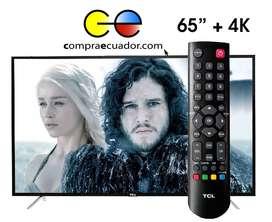 TCL Televisor Led 65 Pulgadas Smart Tv 4k Uhd Netflix Youtube Gratis Antena Soporte
