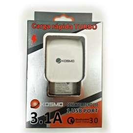 CARGADOR KOSMO MICRO USB 3.1 AMP CARGA RAPIDA TURBO