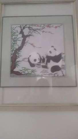 Cuadro pandas chinos tejidos en seda