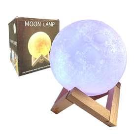 Lámpara Luna Moonlight Recargable 3d Colores Led Base Madera