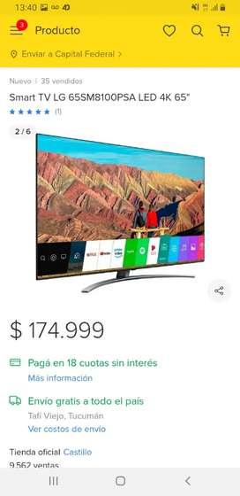 Venta o permuta de TV LG 65 PULGADAS
