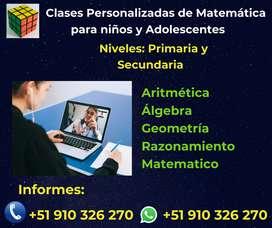 Clases de Personalizadas de Matemática nivel primaria y secundaria
