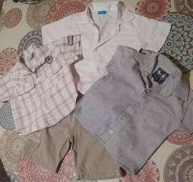 Lote 3 camisas y 1 bermuda bebé T 1