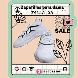 Zapatillas para dama, color blancas, talla 35 para ENTREGA INMEDIATA.