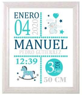 Cuadro Nacimiento Bebé - Diseño Personalizado - 20x25