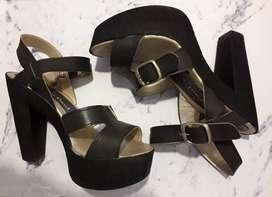 Sandalias negras de fiesta taco alto - nº 38