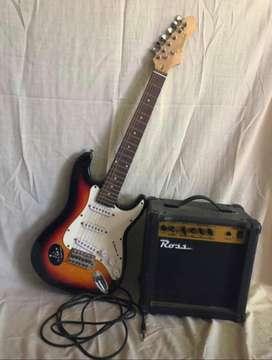 Guitarra texas stratocaster + amplificador Ross 15w.